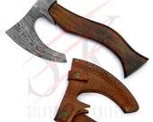 Damascus Steel Axe / Hatchet Custom Hand Forged Tomahawk Rose Wood Handle - 51