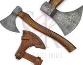 Damascus Steel Axe / Hatchet Custom Hand Forged Tomahawk Rose Wood Handle - 43