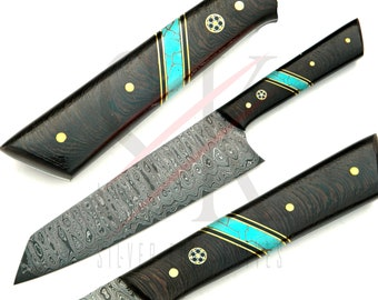 Damascus Steel Kitchen Chef Knife Custom Handmade Wenge Wood and Turquoise Handle - 92
