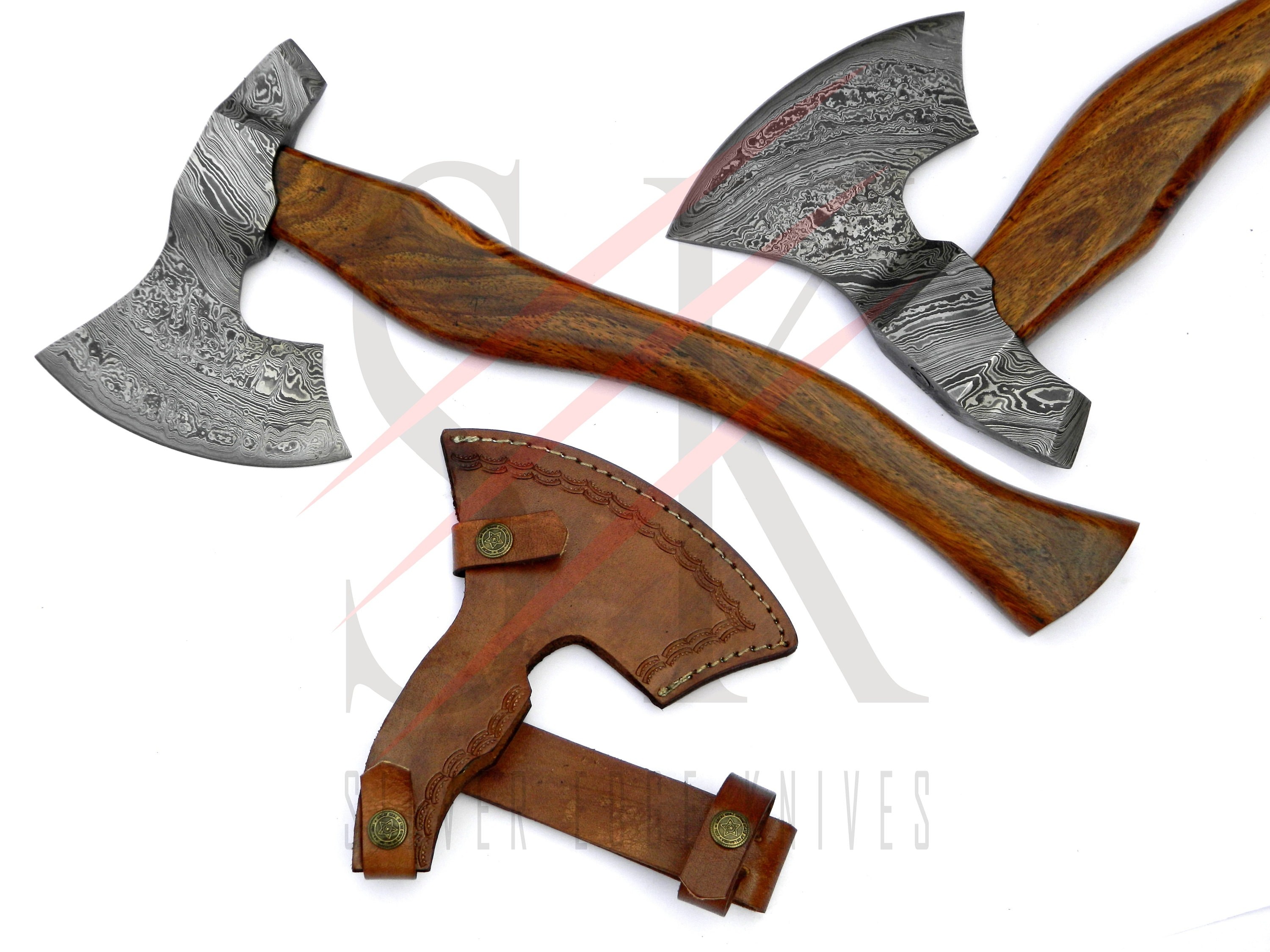 THE MOST AMAZING HAND MADE DAMASCUS AXE WITH ROSE WOOD HANDLE