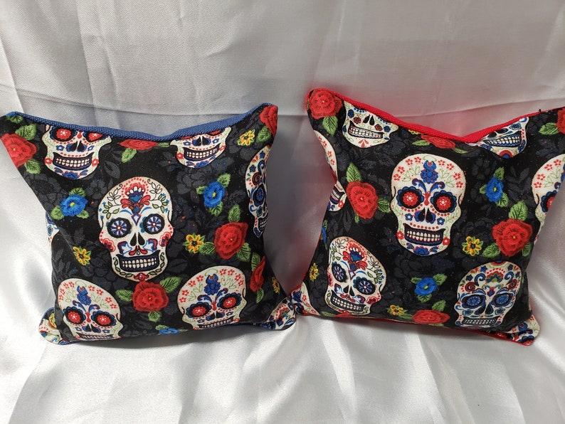 custom bean bag Sugar Skull bean bags set of 8 corn hole bags unique bean bag 8 Sugar Skull  Corn Hole Bags sugar skulls sugar skull