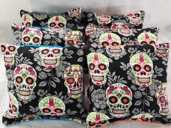 Sugar Skull Set of 8 Cornhole Bags Corn hole