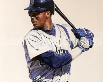 Ken Griffey Jr Colored Pencil Drawing Limited Edition Print #d to 300