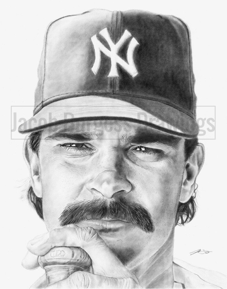 Don Mattingly 11x14 Pencil Drawing Print New York Yankees Numbered to 300