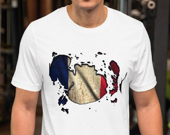 2716164d Retro Vintage French Flag Ripped Shirt, Distressed France National Flag  TShirt, Women Graphic Tee, Country Pride T-shirt, Mens Football Gift