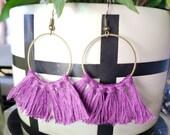 SALE Tassel Earrings Western Gypsy Boho Hippie Earrings Cowgirl Country Fashion Southwestern Purple Tassel Antique Brass Hoop Fringe