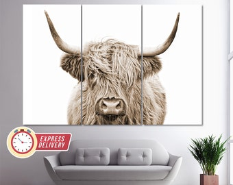 Sepia Highland Cow Canvas Print, Abstract Wall Art, Modern Minimalism, Fashion Gift, Cow Poster, Animals Wall Art, Scotland Cow Canvas Art