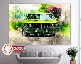 Plymouth Barracuda Canvas Print, Muscle Cars Wall Art, Vintage Sport Car Canvas Art, Barracuda Print, Vintage Decor, Retro Car Canvas