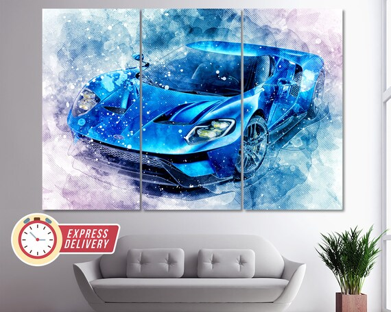 Large Ford GT Muscle Car Supercar Sports Car Wall Poster Art Picture Print