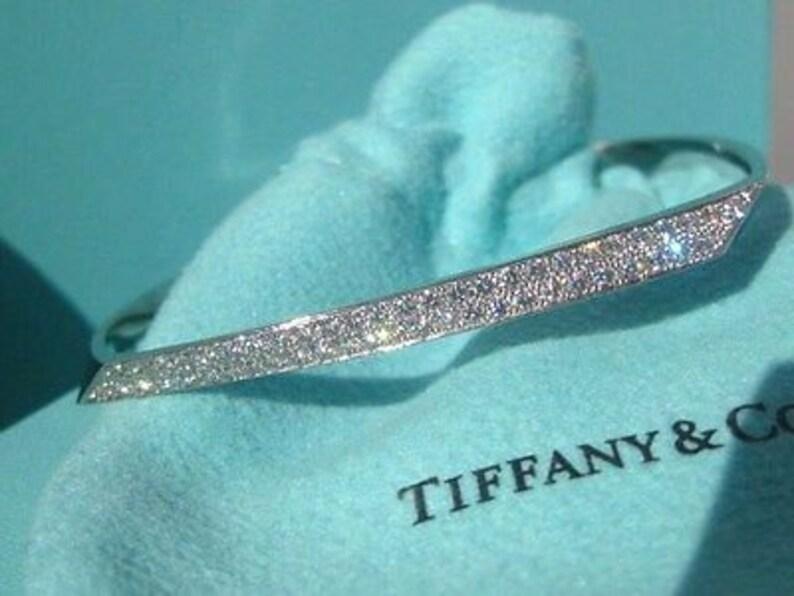 07abc2bc8 Tiffany & Co 18k Gold Diamond Bangle Bracelet | Etsy