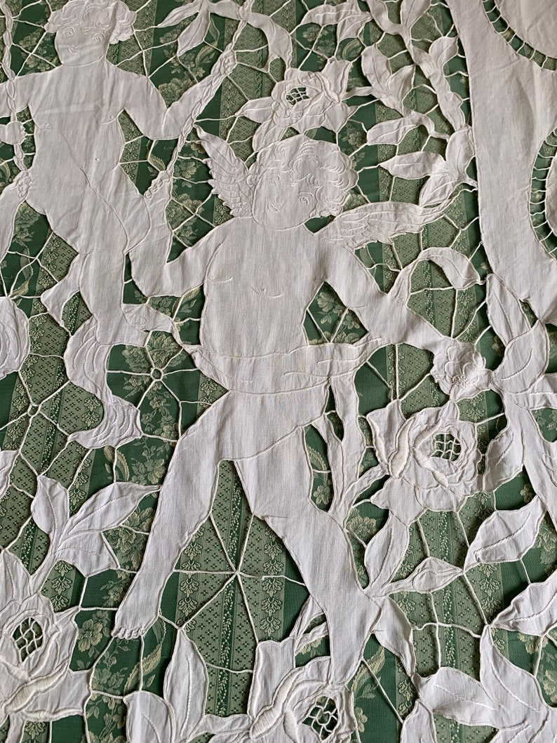 Shabby Chic. Cotton.Vintage French Pair of gorgeous hand embroidered curtains