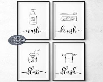 Printable Wall Art Bathroom Etsy