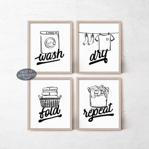 Wash Dry Fold Repeat Laundry Room Decor Black And White Etsy