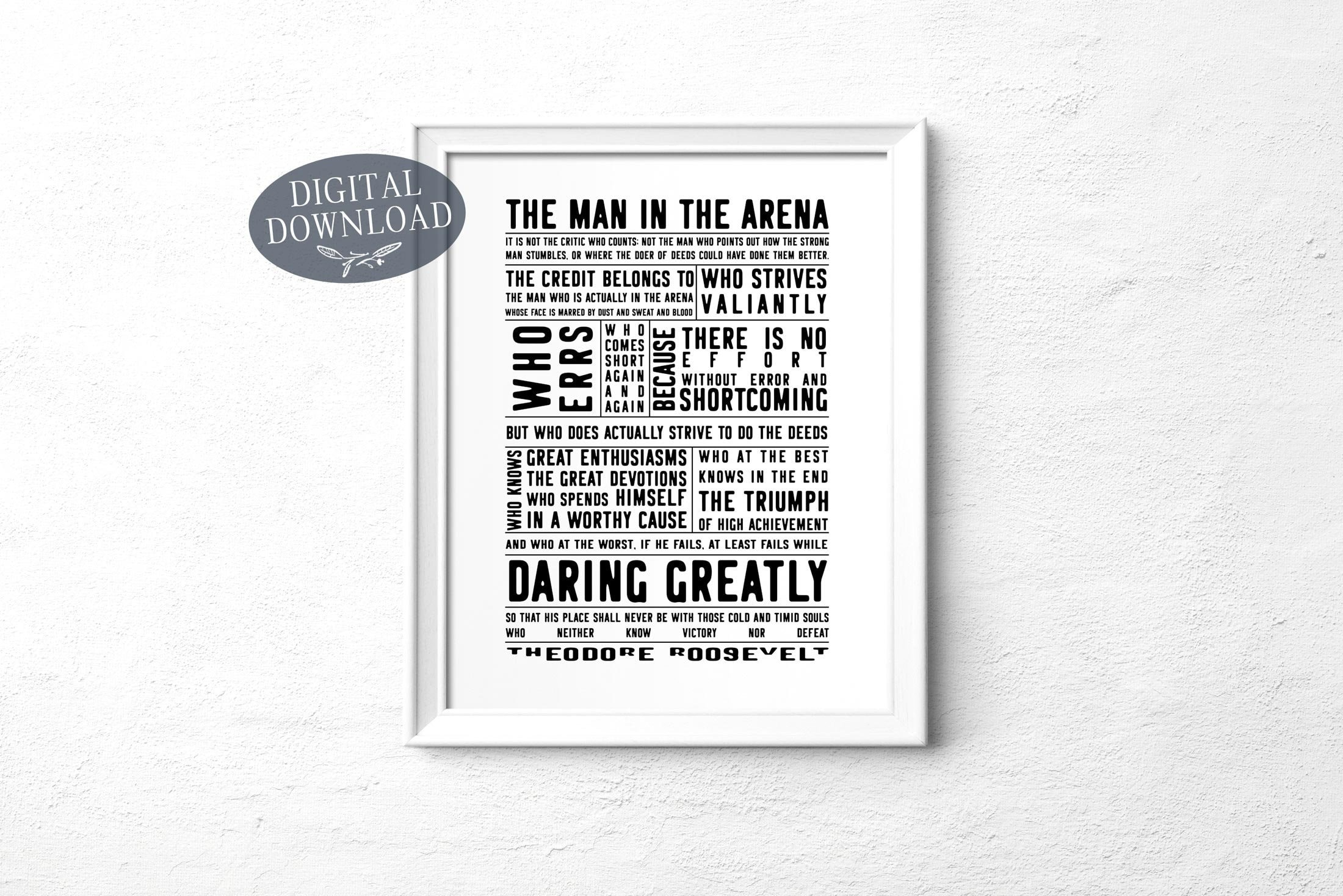 picture relating to The Man in the Arena Printable referred to as The Male Within The Arena Printable Wall Artwork, Theodore Roosevelt Bold Drastically Inspirational Estimate Wall Artwork