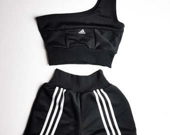 71ed1a8781 Classic Adidas reworked black and white one sleeve top and high waisted  booty shorts set