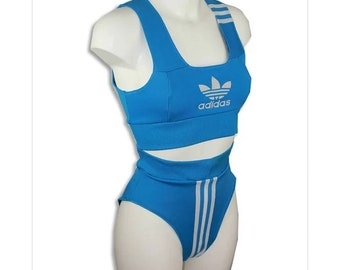 ae0e708a132d4 Bad AF Adidas reworked two piece crop and pants sky blue and white