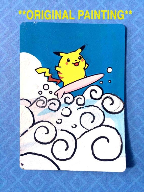 best bathroom decorating ideas tcg.htm painted pokemon card original surfing pikachu etsy  pokemon card original surfing pikachu