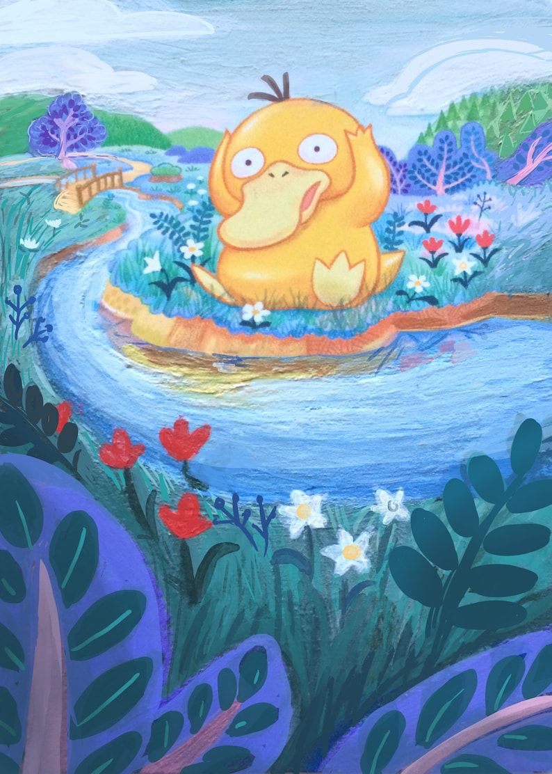photo relating to Pokemon Card Printable called Painted Pokemon Card (PRINT) - Psyduck