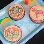 Limited Edition Holiday Swedish Dalahorse Wooden Coaster Sets - 4 Handmade Pine Dalahäst Coasters