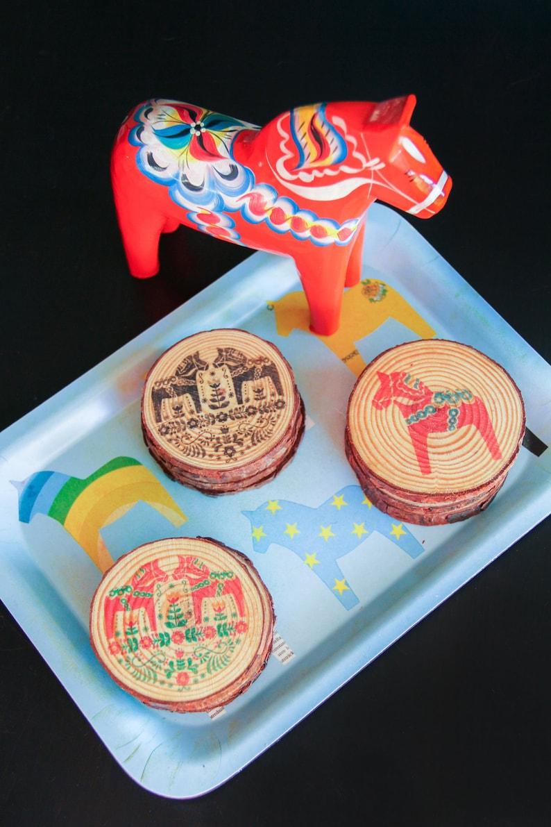 Limited Edition Holiday Swedish Dalahorse Wooden Coaster Sets image 0