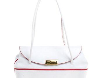 Dolce and Gabbana White Leather Vintage Shoulder Bag 8a85ea712d