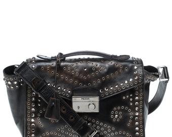 9d5f4e0ac902b4 Prada Dark Brown Vitello Vintage Leather Eyelet Crystal Embellished Top  Handle Bag