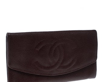 ad32792fc667 Chanel Maroon Leather CC Timeless Vintage Wallet