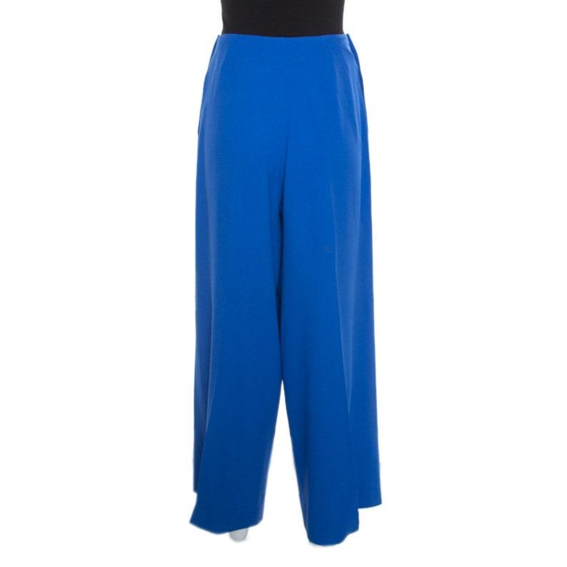 28404e42 Yves Saint Laurent Vintage Blue High Waist Wide Leg Pants M