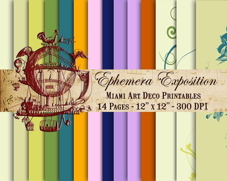 Printable Margarita Paper 14- Page Scrapbook Paper Tropical Color Island  Ephemera Colorful Themed Paper Scrapbook Junk Journal TN Download