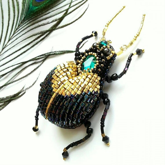 Handmade brooch Beetle handmade brooch insect brooch with rhinestones and beads emerald brooch on a pin