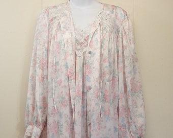 21d019b0d0 Miss Elaine Nightgown Robe Set Peignoir Pajamas Sleepwear Lace Floral USA 2  PC Vintage