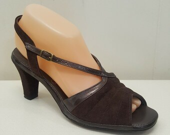 1578d28a5b4dc9 Hush Puppies 9M Heels Shoes Brown Leather Open Peep Toe Slingback Vintage  Suede
