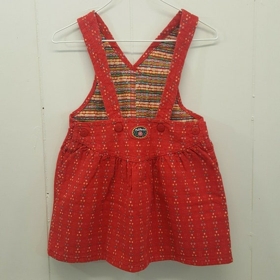 Oshkosh 2T Overalls Dress Red Floral Vestbak Vinta
