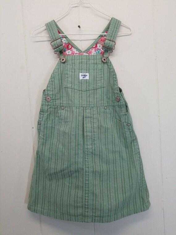 Oshkosh Vestbak 4T Jumper Bib Overall Dress Green