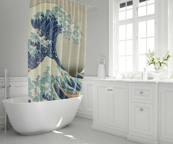 Japanese Painting Great Wave Off Kanagawa Waterproof Shower Curtain 12 Hooks ni