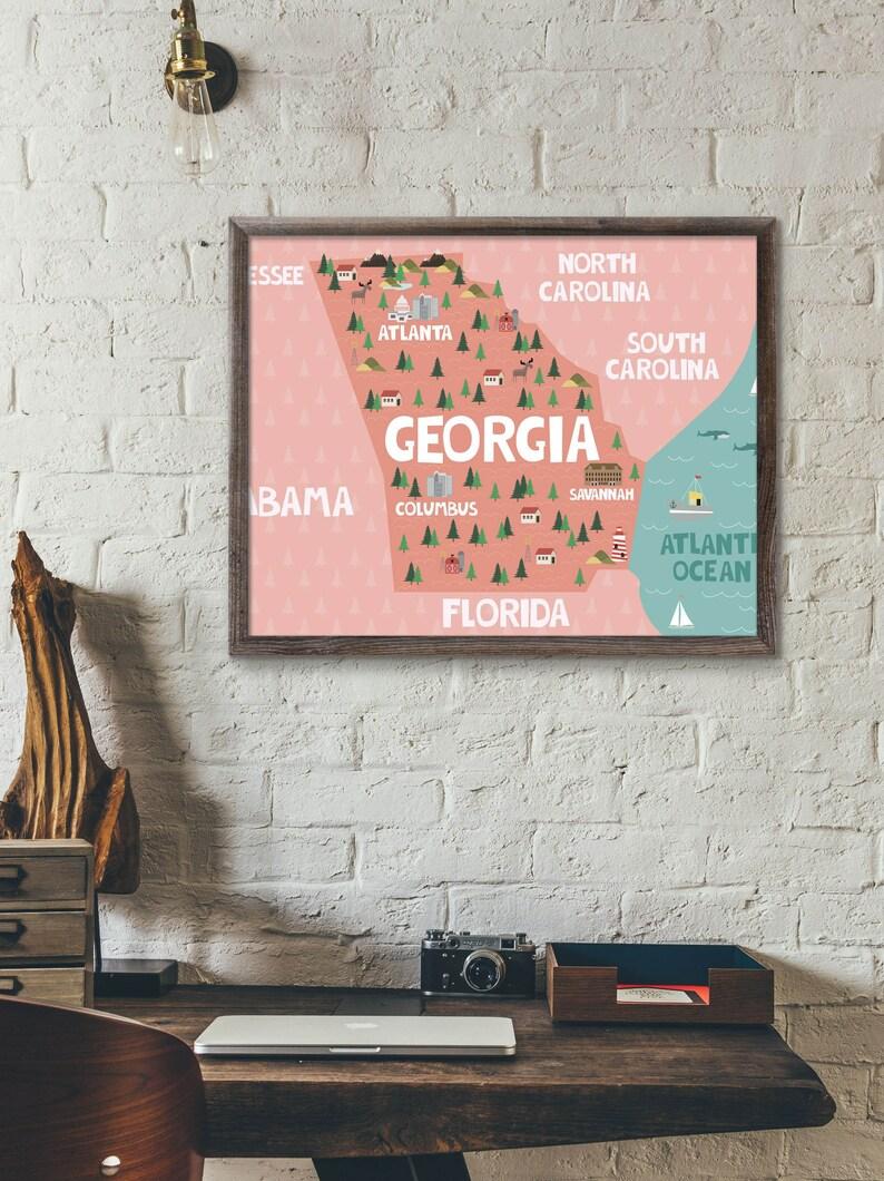 Map Of South Georgia Usa.Georgia State Map Print Georgia Usa Wall Art Georgia Ga Map Of Georgia Print Atlanta Map Ga State Map Georgia Poster Atlanta Ga Georgia Art
