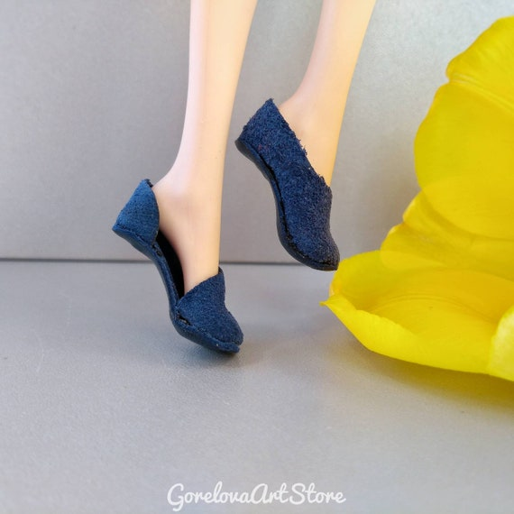 BARBIE DOLL BOOTS HIGH TOP BOOTS ELECTRIC BLUE GENUINE SUEDE LEATHER CLOTHES