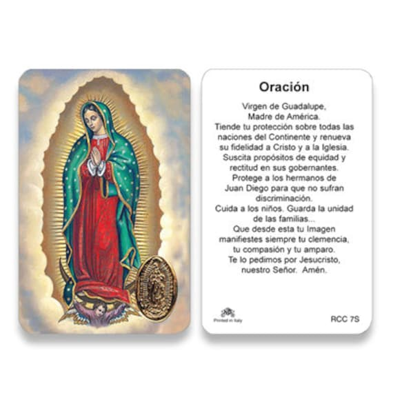 25/Pkg Our Lady of Guadalupe Wallet Size Prayer Card Spanish | Etsy
