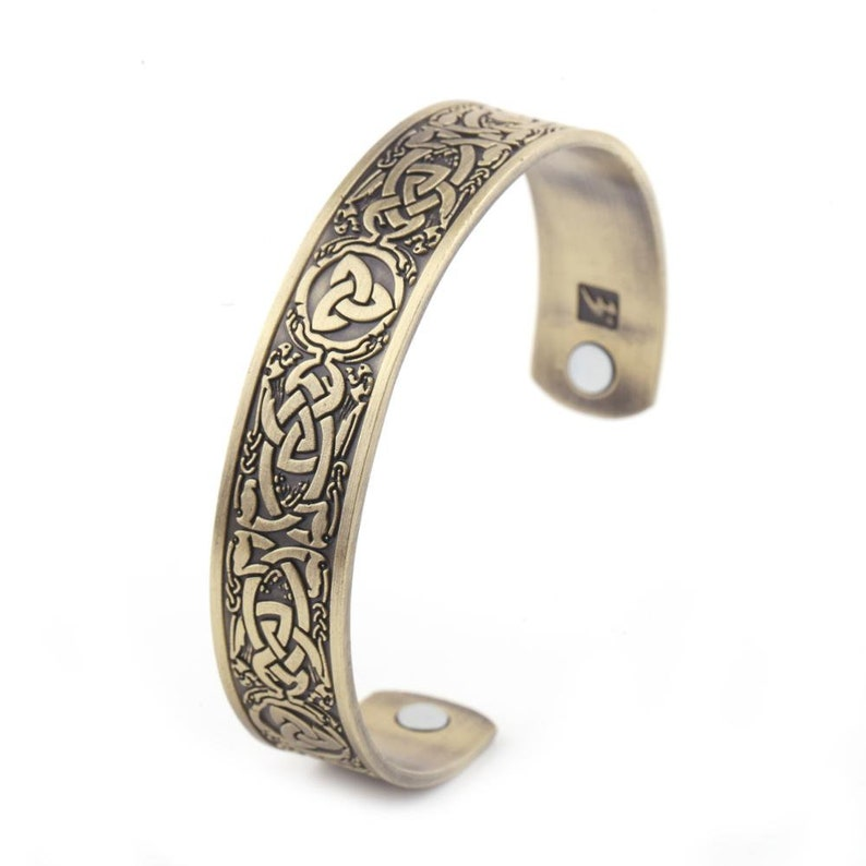 Viking antique gold Magnetic Mens Bangle Unisex Helps relieve pain and increase the bodies natural healing process Cuff Bracelet