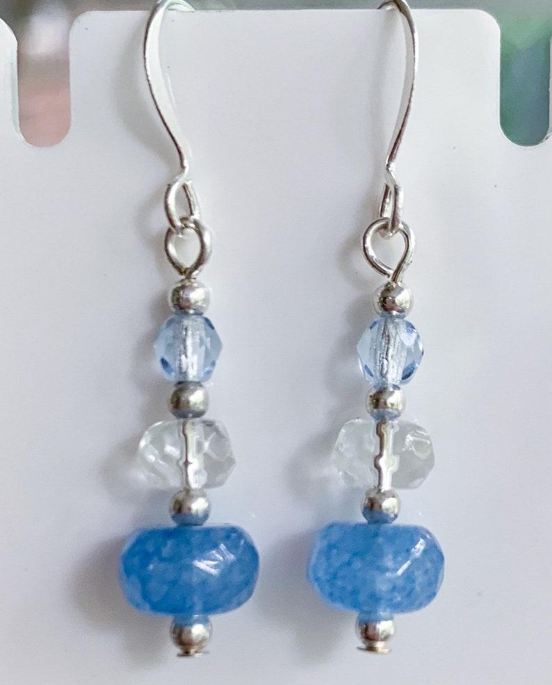 Unique aesthetic jewelry. Statement silver earrings Sky blue glass bead earrings Dangle drop lightweight earrings