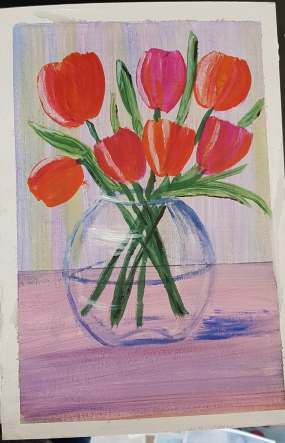 Original Painting Pink Tulips in Field on recycled wood 20 x 20cm