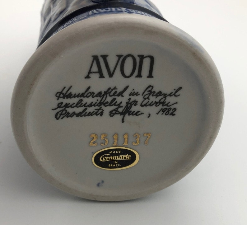 Hand Crafted in Brazil Vintage 1982 Avon Collectible Aircraft Mini Stein Highly embossed Aircraft with great detail  5.5 high