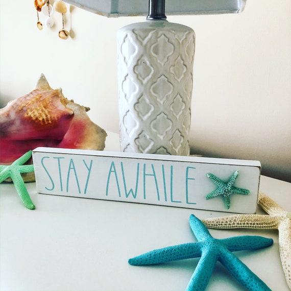 Stay Awhile Coastal Sign Guest Room Decor Beach Decor Beach Etsy