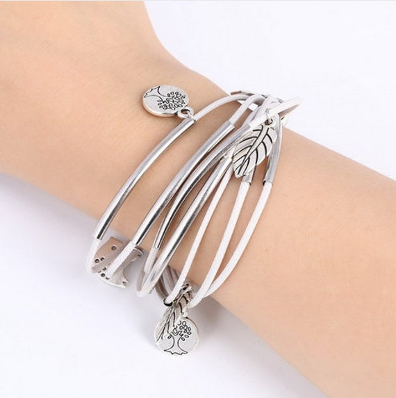 Leather Bracelet for Women Bangle European Beads Charms Gold Bracelet Gift Spring Summer Bridesmaid Heather Cobalt Black