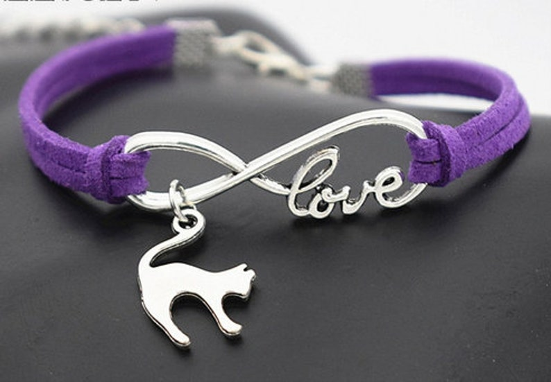 Cat Love Multiple Colors Bracelet for Women Charms Silver Plated Bracelet with 2 Adjustable Extender Spring Summer Multiple Colors
