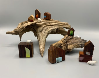 Tiny Homes - Exotic Wood with Torch-fired Enamel Embellishments