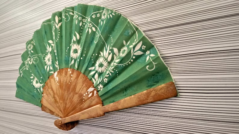 Golden and Green Floral  Hand Fan  Hand Painted Floral Hand Fan  Spanish Hand Fan  Floral Handmade Spanish Fan