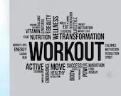 Workout Word Cloud Wall Sticker Crossfit Fitness Inspirational Vinyl Decal Sports Motivational Print Art Home Gym Training Club Decor ft2