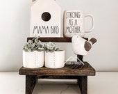 Mini STEP STOOL RISER, Wooden Stand for Pottery, Wood Stool, Farmhouse Decor, Farmhouse Kitchen Pottery Shelf, Farmhouse Riser