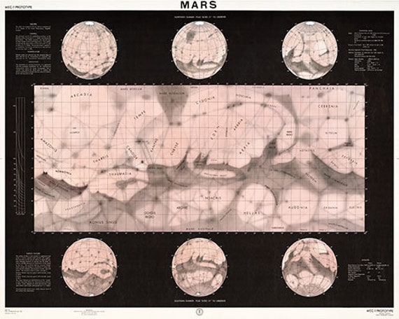 Map of Mars Poster 1962